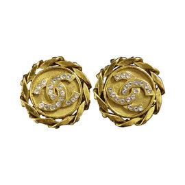 Chanel Gold-Tone Coco Mark Rhinestones Clip-On Earrings