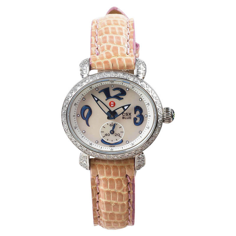 "Image of ""Michele 925 Sterling Silver with Leather 27mm Womens Watch"""