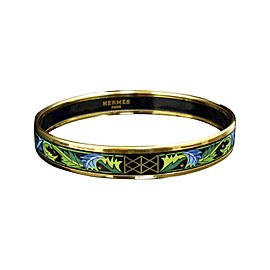 Hermes Gold Tone Metal, Cloisonne and Green Enamel Bangle Bracelet