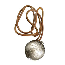 Hermes Silver-Tone Metal Zodiac Pendant Necklace