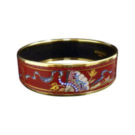 Hermes Gold Tone Metal, Cloisonne and Red Enamel Bangle Bracelet