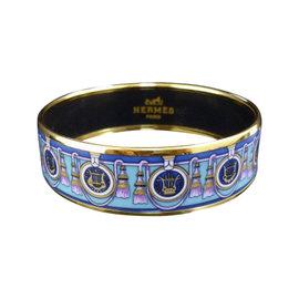 Hermes Silver Tone Metal, Cloisonne and Blue Enamel Bangle Bracelet