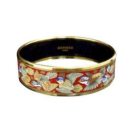 Hermes Gold Tone Metal, Cloisonne and Red Bird Enamel Bangle Bracelet