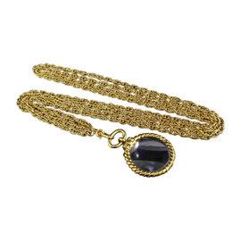 Chanel Coco Mark Gold Tone Metal Coco Mark Loupe Pendant Necklace