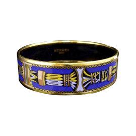 Hermes Gold Tone Metal, Cloisonne and Blue Enamel Bangle Bracelet