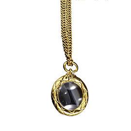 Chanel Coco Mark Gold-Tone Metal Pendant Necklace Coco Mark Glass Loupe