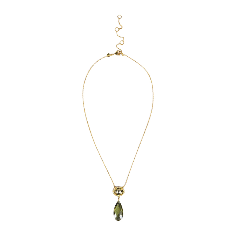 "Image of ""Alexis Bittar Gold Tone Hardware with Crystal Green Drop Pendant"""