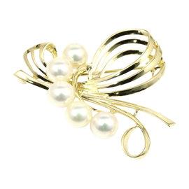 Mikimoto 14K Yellow Gold Pearls Pin Brooch