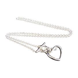 Hermes 925 Sterling Silver Heart Toggle Bracelet