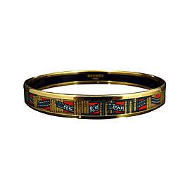Hermes Gold Tone Metal, Cloisonne and Red Green Enamel Bangle Bracelet