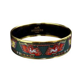 Hermes Gold Tone Metal Cloisonne and Green Enamel Bird Bangle Bracelet Enamel