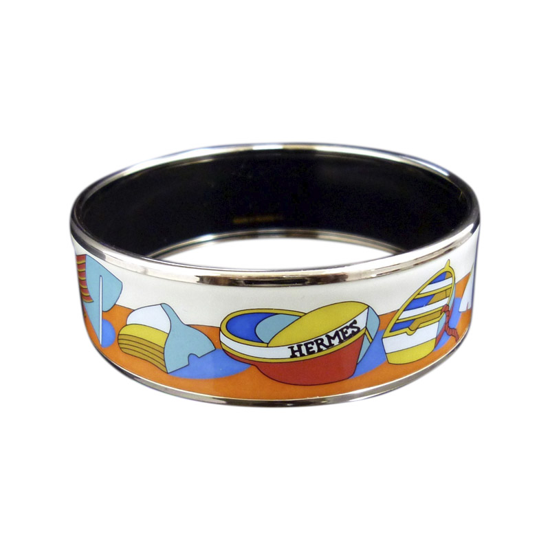 "Image of ""Hermes Gold Tone Metal, Cloisonne and Enamel Yacht Boat Bangle"""