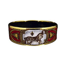 Hermes Gold Tone Metal, Cloisonne and Red Enamel Horse Bangle Bracelet