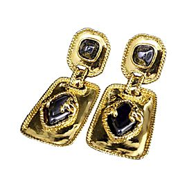 Chanel Gold-Tone Colored Stones Coco Mark Clip-On Earrings