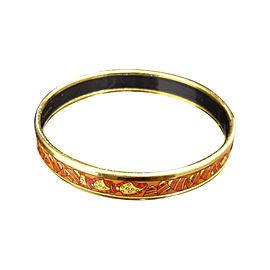 Hermes Gold Tone Metal and Cloisonne Fish Motif Red Bangle Bracelet