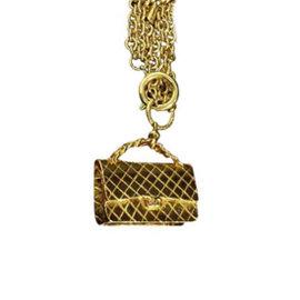 Chanel Matelasse Gold-Tone Metal Pendant Necklace