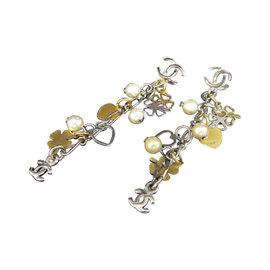 Chanel Coco Mark Silver Gold Tone Heart Clover Swing Pierced Earrings