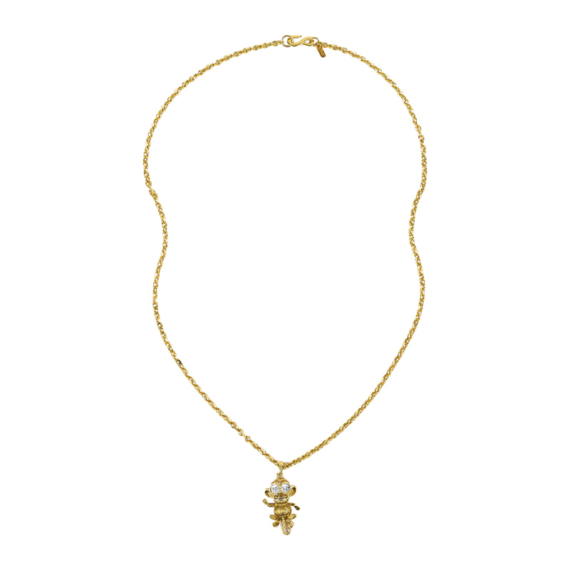 "Image of ""Kenneth Jay Lane Gold Tone Metal & Crystal Monkey Pendant Chain"""
