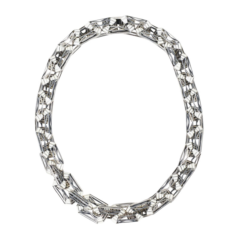 "Image of ""Bottega Veneta 925 Sterling Silver & Enameled Chain Link Necklace"""