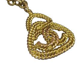 Chanel Coco Mark CC Logo Gold-Tone Chain Pendant Necklace