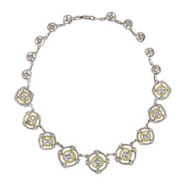 Judith Ripka 925 Sterling Silver & 18K Yellow Gold & 0.10ct Diamond Collar Necklace