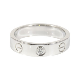 Cartier 18K White Gold Diamond Mini Love Ring Size 4.25
