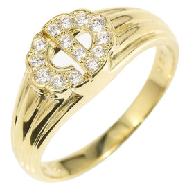 Christian Dior 18K Yellow Gold Diamond Logo Ring Size 5.75