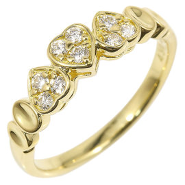 Christian Dior 18K Yellow Gold Diamond Heart Ring Size 6.5
