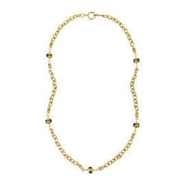 Chanel Gold Tone Hardware with Green Stone Crystal Gripoix Accent Chain Necklace