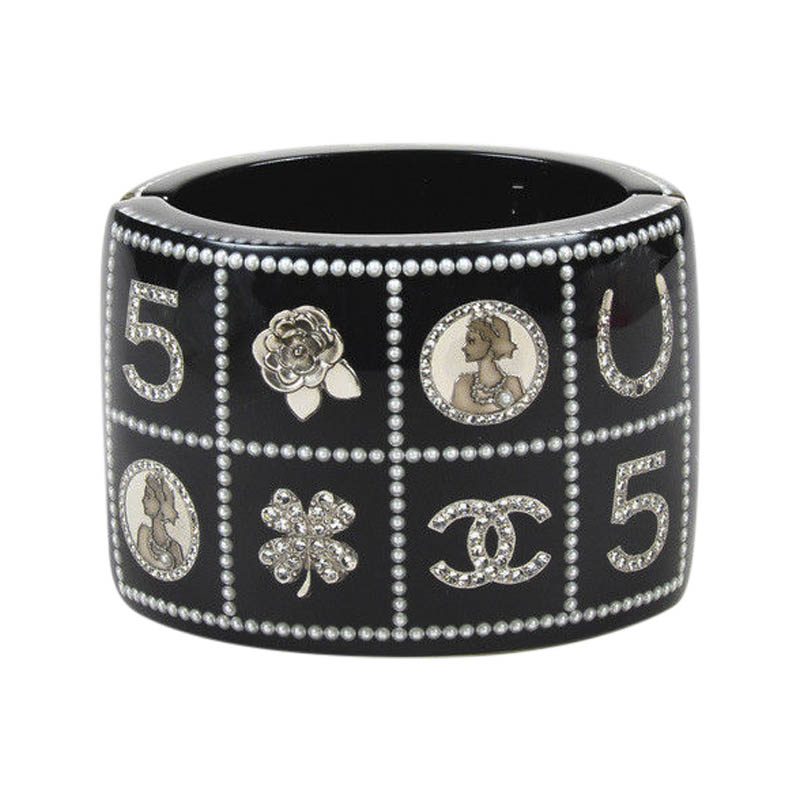 "Image of ""Chanel 14C Silver Tone Hardware with Crystals, Faux Pearls, Resin Logo"""