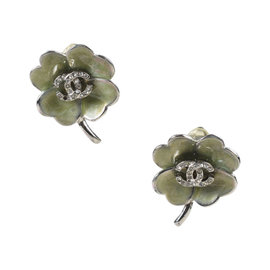 Chanel Silver Tone Hardware with Green Enamel Four Leaf Clover Clip On Earrings