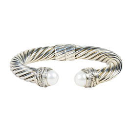 David Yurman 925 Sterling Silver with Pearl and Diamond