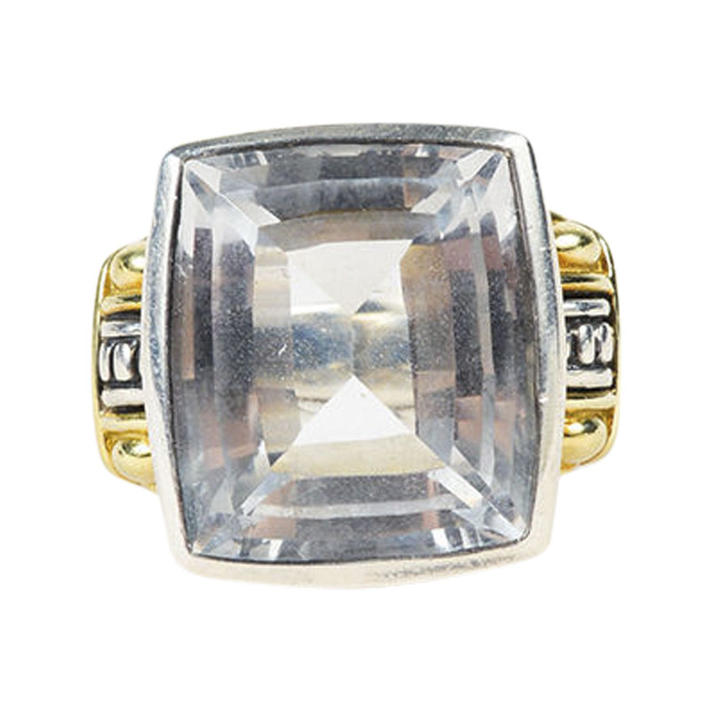 "Image of ""Lagos 18K Yellow Gold Sterling Silver White Topaz Cocktail Ring Size 6"""