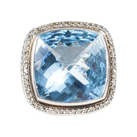 David Yurman Sterling Silver Blue Topaz & 0.44ct. Diamond