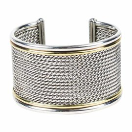 David Yurman 925 Sterling Silver and 18K Yellow Gold Cable Cuff Bracelet