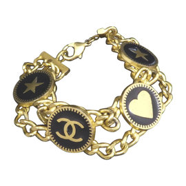 Chanel Gold-Tone Multi Icons Charm Coco Mark Motif Bracelet