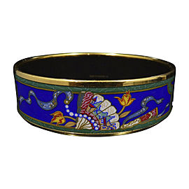 Hermes Gold Tone, Cloisonne & Blue Enamel Bangle Bracelet