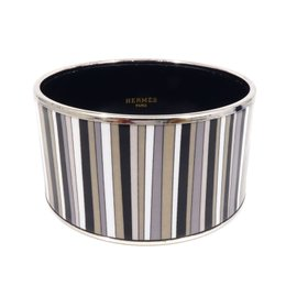 Hermes Cloisonne Silver Tone Hardware Pin-Striped Bangle