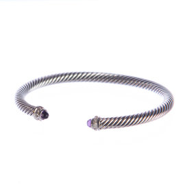 David Yurman Cable Classics 925 Sterling Silver with Amethyst & 0.07ct Pave Diamond Bracelet