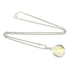 Hermes 18K Yellow Gold with 925 Sterling Silver Serie Selye Chain Necklace