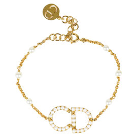 Christian Dior Gold Tone & Faux Pearl Station 'CD' Bracelet