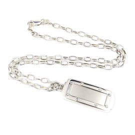 Cartier 925 Sterling Silver and Stainless Steel Santos Pendant Necklace