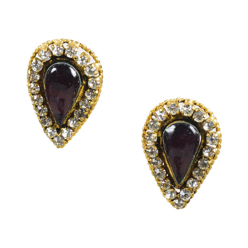 "Image of ""Chanel Gold Tone Crystal & Purple Gripoix Clip On Earrings"""