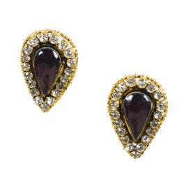 Chanel Gold Tone Crystal & Purple Gripoix Clip On Earrings