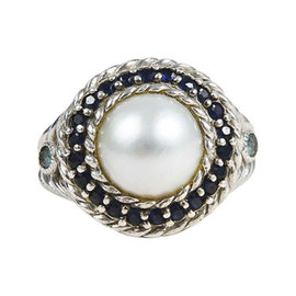 Judith Ripka Sterling Silver Blue Sapphire & Topaz Mabe Pearl Ring Size 6