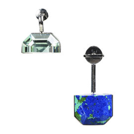 Christian Dior Palladium Blue Green Crystal Small