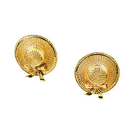 Chanel Gold Tone Hardware Straw Hat Clip On Earrings