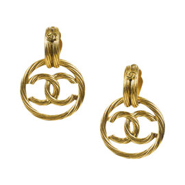Chanel 95P Gold Tone Cable 'CC' Logo Hoop Clip On Earrings