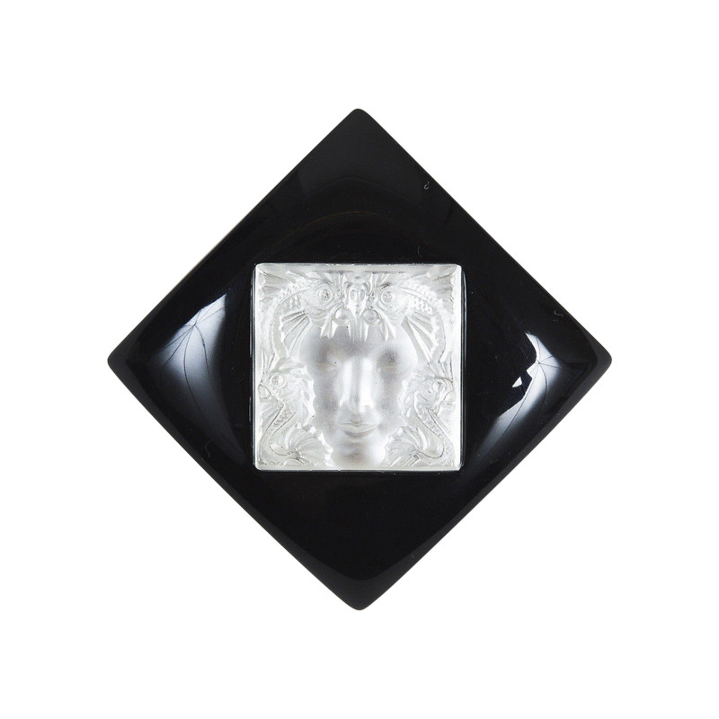 "Image of ""Lalique Silver Tone Hardware and Resin with Black and White Glass"""