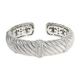Judith Ripka Sterling Silver Cubic Zirconia Textured Hinged Bracelet